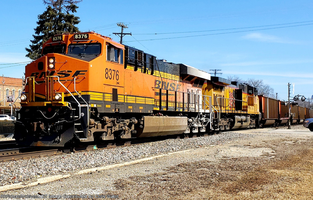 BNSF 8376 leads a west bound with some U.P. run through power